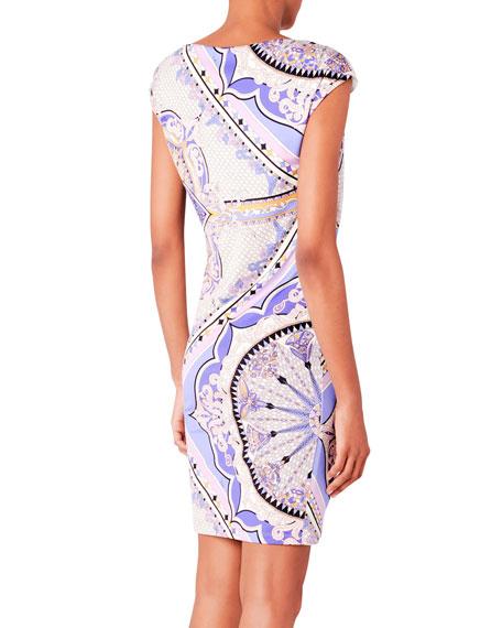 Draped Printed Jersey Dress