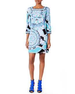 Emilio Pucci 3/4-Sleeve Printed Dress