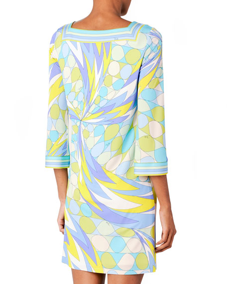 3/4-Sleeve Printed Dress