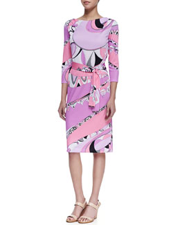 Emilio Pucci Marilyn Shape 3/4-Sleeve Print Dress, Tragara Pink