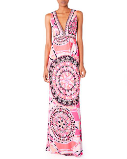 Emilio Pucci V-Neck Printed Maxi Dress