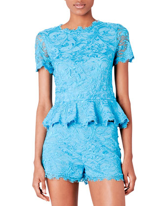 Short-Sleeve Lace Peplum Top, Turquoise