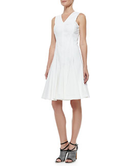 Derek Lam Stretch Cotton Peplum A-Line Dress, White