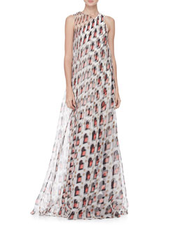 Carolina Herrera Diamond Swirl Print Gown