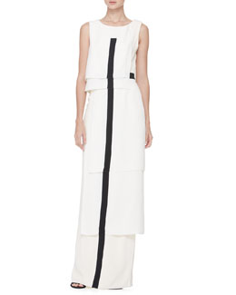 Carolina Herrera Tiered Center-Stripe Gown