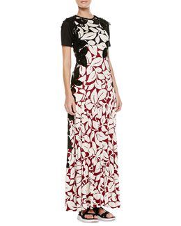 Marc Jacobs Long T-Shirt Dress with Floral Appliques