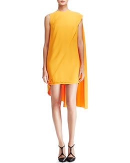 Narciso Rodriguez Sleeveless Cape Dress, Orange