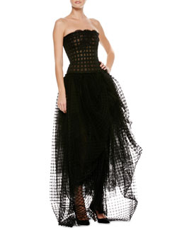 Oscar de la Renta Strapless Lace Tulle High-Low Gown