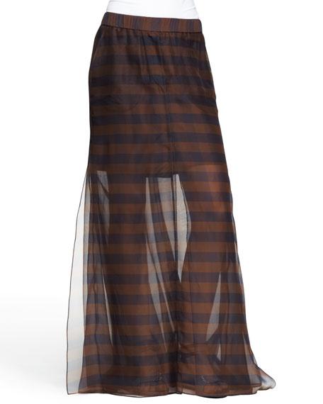 Sheer Mixed-Stripe Maxi Skirt