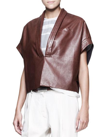 Leather Kimono-Sleeve Jacket