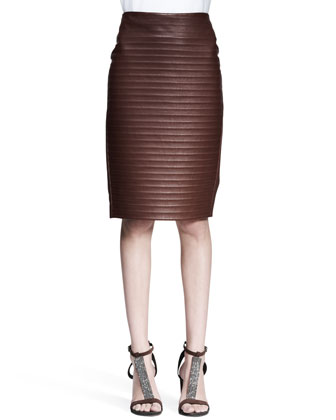 Ridged Leather Pencil Skirt