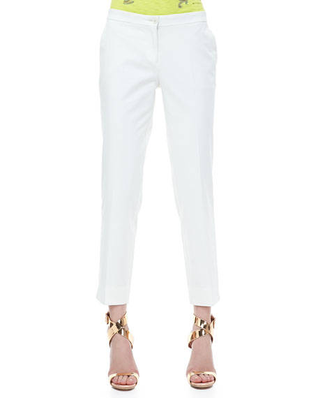Front-Closure Ankle Pants, White