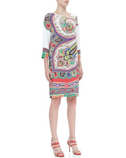 Etro Three-Quarter-Sleeve Paisley Shift Dress