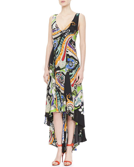 Paisley Crepe de Chine Maxi Dress, Black/Multi