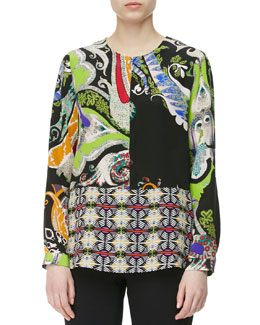 Etro Paisley & Mixed-Print Blouse, Black/Multi