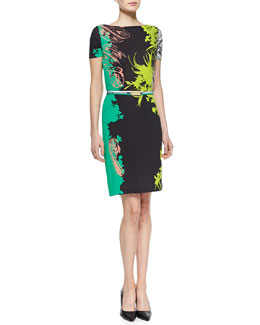 Etro Belted Short-Sleeve Floral-Print Dress