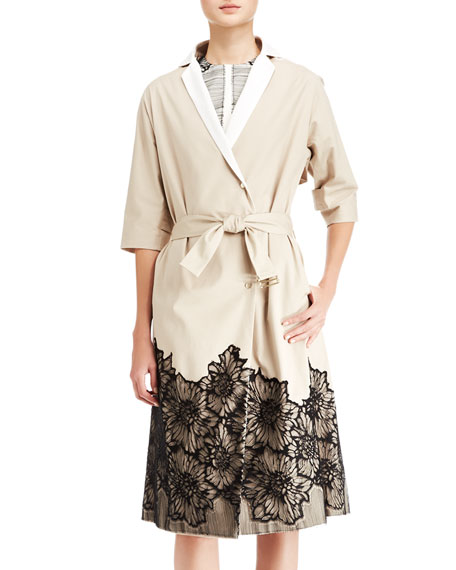 Belted Lace-Trim Trenchcoat