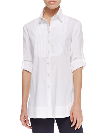 Stretch Poplin Tuxedo Shirt, White