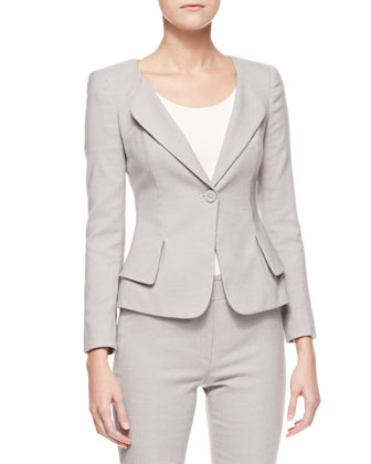 One-Button Jacket with Peplum, Chord Ivory
