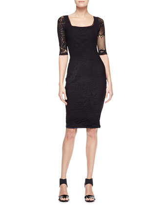 3/4-Sleeve Square Neck Dress, Black