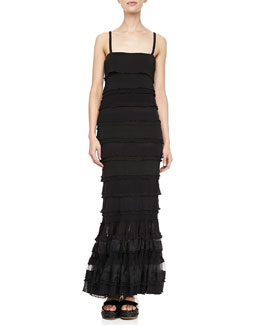 Jean Paul Gaultier Long Ruffle-Tiered Dress, Black