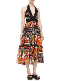 Jean Paul Gaultier Full-Skirt Mid-Calf Halter Dress, Black/Orange