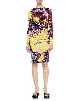 Jean Paul Gaultier Printed Long-Sleeve Jersey Dress, Yellow/Multi
