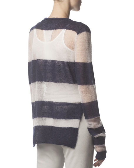 Mohair-Blend Striped Long-Sleeve Sweater