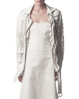Acne Studios Slit Leather Jacket, White
