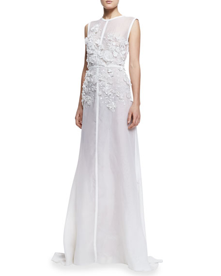 Sleeveless Embroidered-Lace Gown