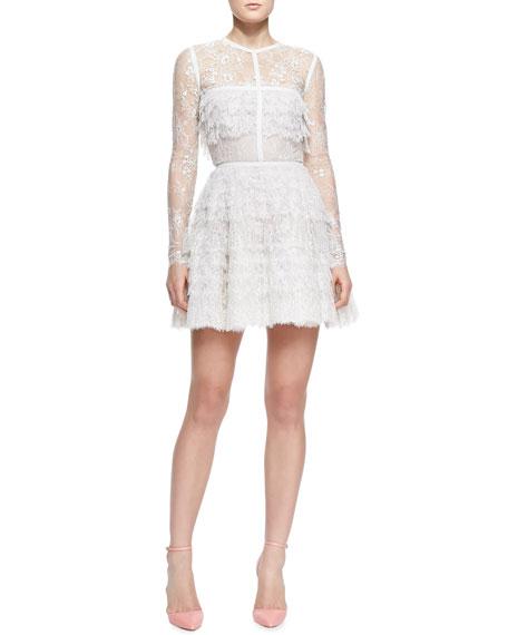 Ruffled Lace Fringe Long-Sleeve Dress