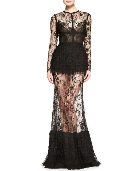 Sheer-Skirt Lace Long-Sleeve Gown