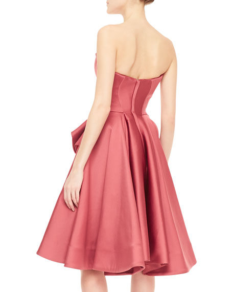 Strapless Satin Ruffle Flared Cocktail Dress, Rose