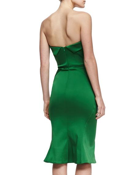 Strapless Sweetheart Satin Dress, Grass Green