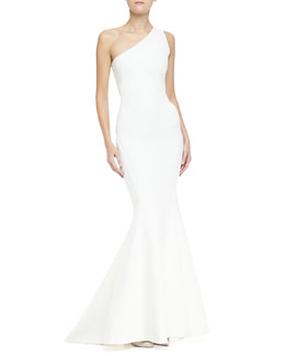 Zac Posen One-Shoulder Mermaid Bandage Gown