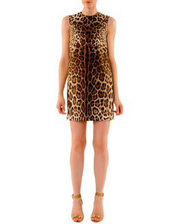 Dolce & Gabbana Leopard-Print Mini Shift Dress