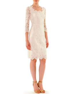 Dolce & Gabbana Scalloped Lace Elbow-Sleeve Dress