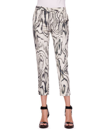 Classic Woodgrain Printed Pencil Pants