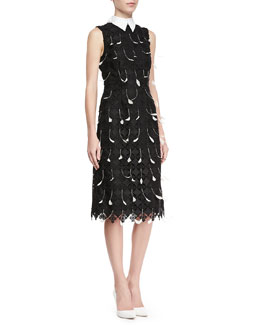 Erdem Brenton Sleeveless Collared Dress with Feathers