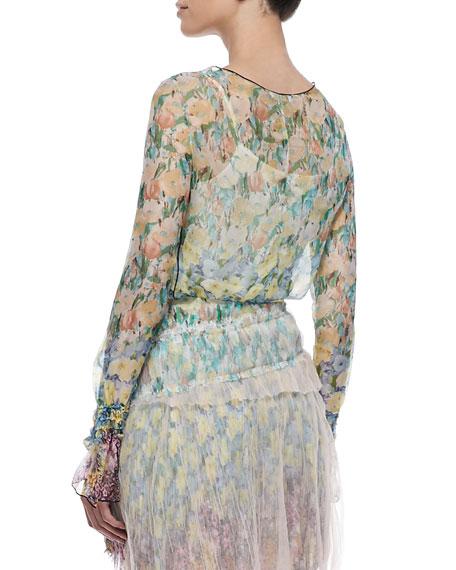 Sheer Floral-Print Long-Sleeve Blouse
