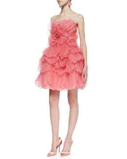 Oscar de la Renta Strapless Tulle Flower Cocktail Dress, Sorbet