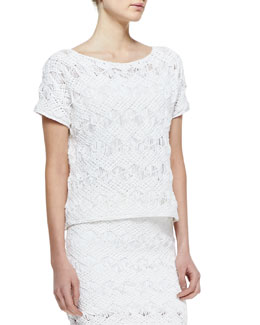 Ralph Lauren Black Label Short-Sleeve Easy-Open Crochet Top