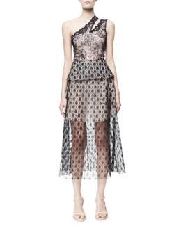 Stella McCartney One-Shoulder Rosebud Lace Dress, Black