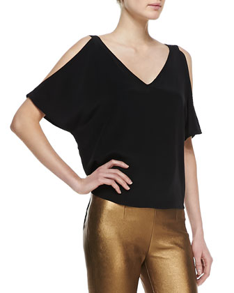 Giana Cold-Shoulder V-Neck Top