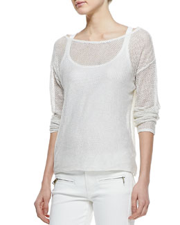 Ralph Lauren Black Label Boat-Neck Modern Netting Top