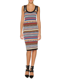 Emilio Pucci Tribal-Print Sheath Dress, Black/Multi
