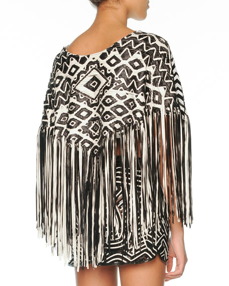 Woven Leather Poncho with Fringe, Black/White