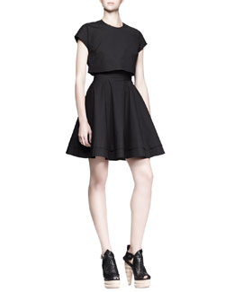 Proenza Schouler Illusion Crop-Top Tie-Waist Dress