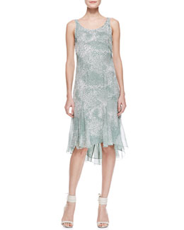 Jason Wu Sleeveless Silk Godet Dress, Sage