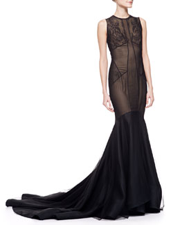 Jason Wu Lace & Tulle Trumpet Gown with Train